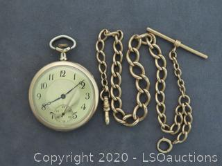 14K POCKET WATCH & CHAIN