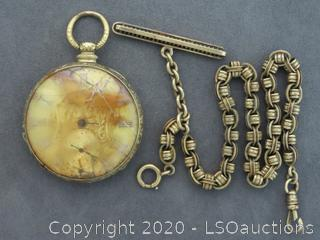 POCKET WATCH WITH 14K CHAIN
