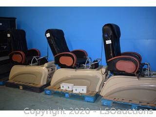 (3) MASSAGING PEDICURE STATION CHAIRS
