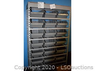 STORAGE SHELF W/ 24 PLASTIC BINS