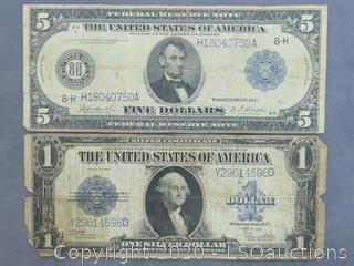 LARGE $5 BILL & LARGE $1 BILL