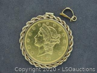 PENDANT W/1901 $25 GOLD COIN
