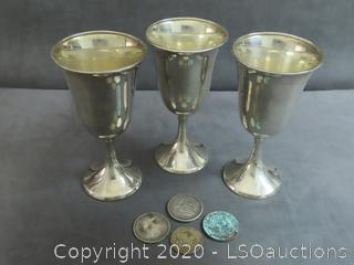 COMMEMORATIVE MEDALS & STERLING GOBLETS